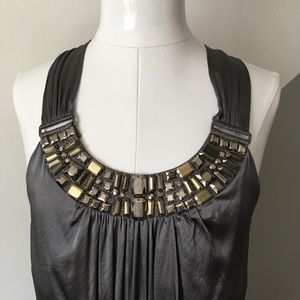 Cache Tops - Cache Small Jeweled Neck Silk Tank Top Gray Moody